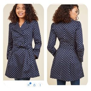 ModCloth Capital Class Polka Dotted Trench Coat
